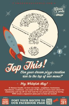 Wayne Koenig›Portfolio›The Roman Candle Top This! store launch promotion poster