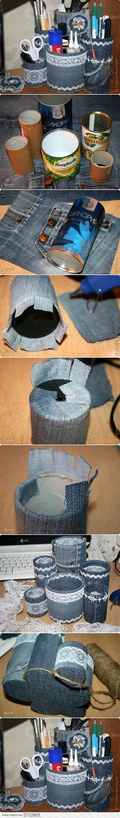 DIY Easy and Quick Organizer DIY Projects | UsefulDIY.com. denim and lace!