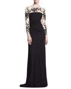 Pin for Later: Liebe Bräute, diese 24 Kleider solltet ihr für eure Mütter vormerken David Meister Long-Sleeve Lace Gown David Meister Long-Sleeve Gown with Lace Illusion ($595)