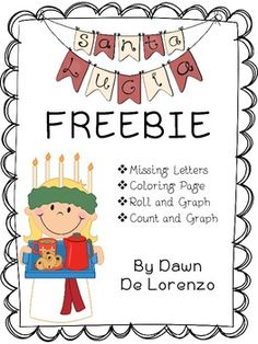 Santa Lucia Morning Work {FREEBIE} This FREEBIE is ideal for morning work on Santa Lucia Day. This pack contains a coloring page, a r