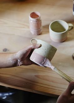 Prettiest pink! And love the specks of the clay. And how the handle is aligned to the top instead of the middle.:
