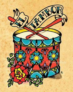 Vieja escuela Tattoo tambor arte EL TAMBOR por illustratedink