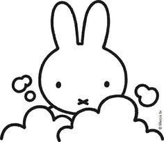 Love this simple black and white Miffy illustration. Magazine Cover Layout, Cloud Illustration, Bunny Drawing, Pocket Edition, Miffy, Kid Character, Blue Dream, Baby Kind, Kawaii Drawings