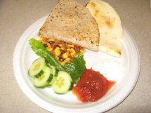 What's for lunch in your schools? Here's a Beef and cheese quesadilla with corn and bean salad, lettuce and cucumbers served up in Gillis School (K-8) in Tyndall, Manitoba, Canada.