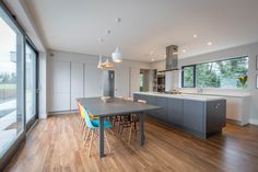 As the hub of the home, the kitchen is the room with all the action. Check out our board for examples of elegant contemporary kitchens that are built to suit the needs of today's family. Beautiful Kitchen Designs, Beautiful Kitchens, Bespoke, Home And Family, Indoor, House Design, Contemporary Kitchens, Table, Interior