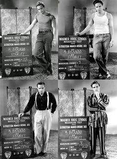 "Marlon Brando costume tests for ""A Streetcar Named Desire"", 1951 Marlon Brando, Vintage Hollywood, Classic Hollywood, Hollywood Glamour, El Divo, Streetcar Named Desire, Warner Bros Studios, Tennessee Williams, Old Movie Stars"