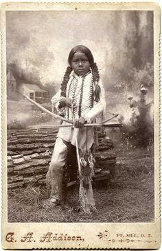 +~+~ Antique Photograph ~+~+  Brave little Native American Indian hunter.