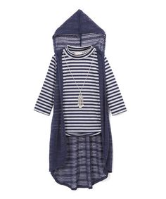 This Navy & White Stripe Mock Neck Tee & Lace Duster - Tween is perfect! #zulilyfinds