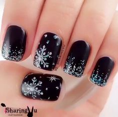 Black Snowflake Manicure - 20 Snowflake Nail Ideas Perfect for a Winter Wonderland - Photos