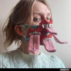 Icelandic yarn artist Ýrúrarí has created a wonderfully bizarre line of knitted face masks that feature oversized mouths, teeth, and tongues. The artist Diy Mask, Diy Face Mask, Face Masks, Clear Face Mask, Best Face Mask, Pulp Fiction, Icelandic Artists, Monster Face, Nerf Gun