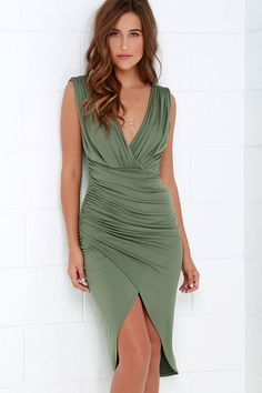 Partington Cove Olive Green High-Low Wrap Dress at Lulus.com!