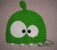 I made this :) Om Nom beanie from Cut the Rope app game. This hat is a product of https://www.facebook.com/MountainMommysCrochet