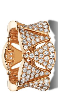 BVLGARI DIVA ring in 18 kt pink gold with full pavé diamonds. Jewellery || Compare price before you Buy || www.shopprice.com.au