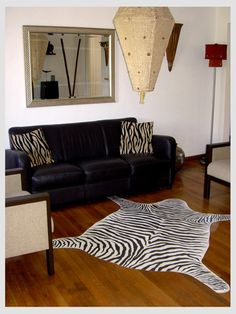 Zebra floor cloth, cut from and painted on canvas
