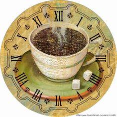 AMARNA ARTESANATO E IMAGENS: FUNDOS PARA RELÓGIO DE COZINHA - clique nas imagens para ampliá-las Clock Face Printable, Clock Craft, Handmade Clocks, Coffee Art, Clock Faces, Stencils, Vintage Items, Miniatures, Plates