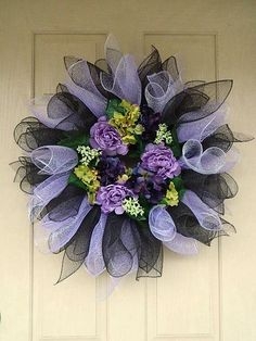 Items similar to Spring Mesh Wreath with Lavender Purple and Chocolate Accents on Etsy