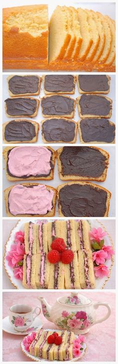 Pink Piccadilly Pastries: Chocolate Raspberry Pound Cake Tea Sandwiches