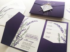 A wild little bouquet of lavender and rosemary adorn this wedding invitation. This design is shown in shades of green and purple (dark or light), but