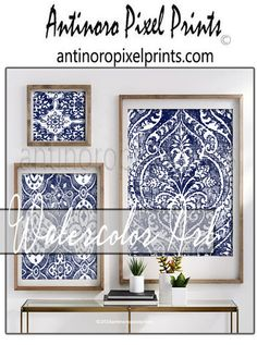 Items similar to Watercolor Wall Art Decor Damask Navy White Wall Art Print - Set Includes Art Prints (Unframed) on Etsy Framed Fabric, Fabric Wall Art, Diy Wall Art, Wall Art Decor, Wall Art Prints, Wall Decorations, Canvas Prints, White Wall Decor, White Wall Art