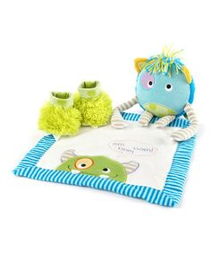 Another great find on #zulily! Blue & Green Monster Party Blanket Set by Baby Aspen #zulilyfinds