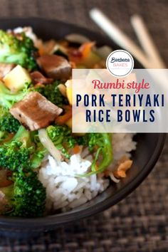 Tender barbecued pork and stir fried veggies drizzled with a spicy terikayi sauce served over quick and easy coconut rice. #BarbaraBakes #porkteriyakibowls #teriyakiricebowls
