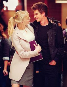 cutest couple ever!! Peter & Gwen! (emma and andrew) Ive pinned this picture probably a million times but I have no shame lol