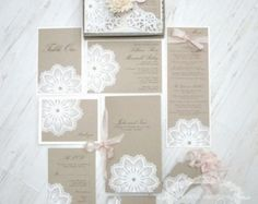 SALE: vintage wedding invitation Lace doily by anistadesigns