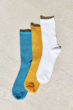 3 Pack Solid Ribbed Socks