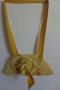 Womens Bag Handmade Wool Crocheted Yellow Colors  Tote Long Handel Pocket Inside