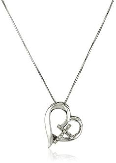 Sterling Silver Diamond Accent Open Heart Faith Hope Love Pendant Necklace >>> Check out this great product.Note:It is affiliate link to Amazon.