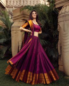 Half Saree Lehenga, Lehenga Saree Design, Lehenga Designs, Lehenga Blouse, Lehenga Gown, Indian Lehenga, Sari, Indian Gowns Dresses, Indian Fashion Dresses