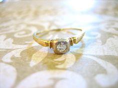 Art Deco Gold Diamond Engagement Wedding Band by charmingellie, $155.00