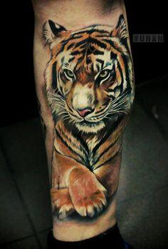 Tiger tattoo on leg new school by Valery Drew Tiger Tattoo Small, Tiger Tattoo Thigh, Lace Thigh Tattoos, Tiger Tattoo Sleeve, Big Cat Tattoo, Tiger Tattoo Design, Sleeve Tattoos, Tiger Tattoo Back, Small Tattoos