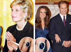 The sapphire engagement/wedding ring given first to Princess Diana, then to Kate Middleton, was bought in 1981 for 65,000 dollars from Garrard Jewellers, the offical jeweller of the royal family. It is an 18 carat sapphire surrounded by 14 white smaller diamonds. The ring was not custom made, and was available for purchase at the time in Garrard Jeweller's catalog.