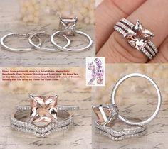 Princess Morganite Engagement Ring 3 Bridal Set Pave Diamond Wedding 14K White Gold 8mm