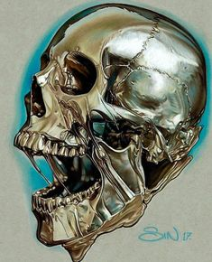 finished this golden melting skull! Reference from Done with prismacolor pencils on strathmore grey paper. Skull Tattoo Design, Skull Design, Skull Tattoos, Sleeve Tattoos, Tatoos, Skull Artwork, Skull Painting, Realistic Drawings, Easy Drawings