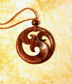 Carved Wooden Pendant  Ninfa Necklace by PrimalOriginals on Etsy, $20.00