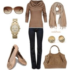 Green and beige Fall Outfit - Polyvore