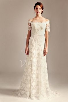 Robes de mariée - $186.99 - Forme Princesse Epaules nues alayage/Pinceau train Dentelle Robe de mariée (00205003273)
