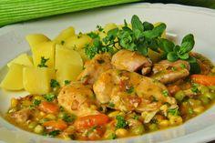 Na přípravu budete potřebovat: 300g kuřecího masa ( použila jsem prsní i stehenní řízky) 1 sáček mražené zeleniny ( já použila mrkev,...