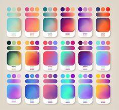 Idéias de cores gradientes Colour Pallete, Colour Schemes, Color Combinations, Ui Ux Design, Graphic Design Trends, Graphic Design Inspiration, Color Inspiration, Color Mixing Chart, Skin Color Chart