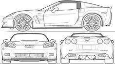 automobile blueprints | Car Blueprints: Chevrolet Corvette C6 ZR1 Coupe