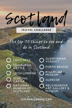 TOP 10 Travel List : Scotland ~ Travel Challenge ~ How many have you visited? - TOP 10 Travel List : Scotland ~ Travel Challenge ~ How many have you visited? Take the quiz to see - Travel Checklist, Travel List, Travel Guides, Travel Bags, Shopping Travel, Travel Europe, India Travel, Budget Travel, Italy Travel