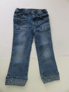Arizona Girl's Denim Jean Co Jeans Size 5 Blue Embroidery Cuffs Bottom #Arizona #ClassicStraightLeg #Everyday