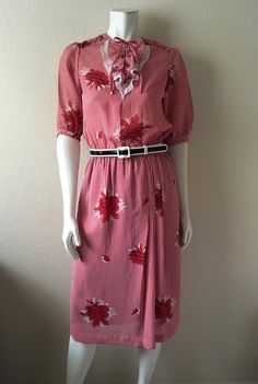 Vintage Women's 80's Striped Dress, Red, White, Floral, Short Sleeve (XS/S) by Freshandswanky on Etsy