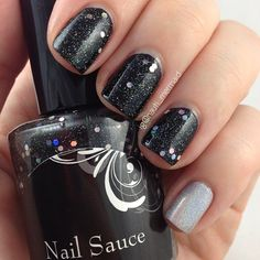 NAIL SAUCE Space Junk over SALLY HANSEN Onyx; accent COLOR CLUB Harp On It