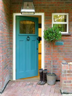 Front Door Colors For Red Brick House Exterior Paint Colors For Red Brick House Contemporary Entry With Blue Front Door Front Door Colors Red Brick House – newbedroom. Teal Front Doors, Unique Front Doors, Front Door Paint Colors, Painted Front Doors, Exterior Paint Colors, Paint Colors For Home, House Colors, Paint Colours, Front Entry