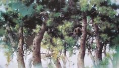 Watercolor Trees, Watercolor Drawing, Ink Painting, Watercolor Paintings, Landscape Drawings, Landscape Paintings, Japanese Watercolor, Tree Forest, Water Crafts