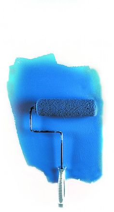 paint roller painting blue wall (Photo by Frank Espich)