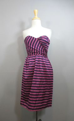 COREY LYNN CALTER Strapless Purple & Navy Striped Silk On-The-Fold Dress sz 2 Ali Ro Womens Gorgoeus Laguna Floral Print Peplum Sleeveless Silk Dress 10 $264 #shopmodo #modoboutique www.modoboutique.com